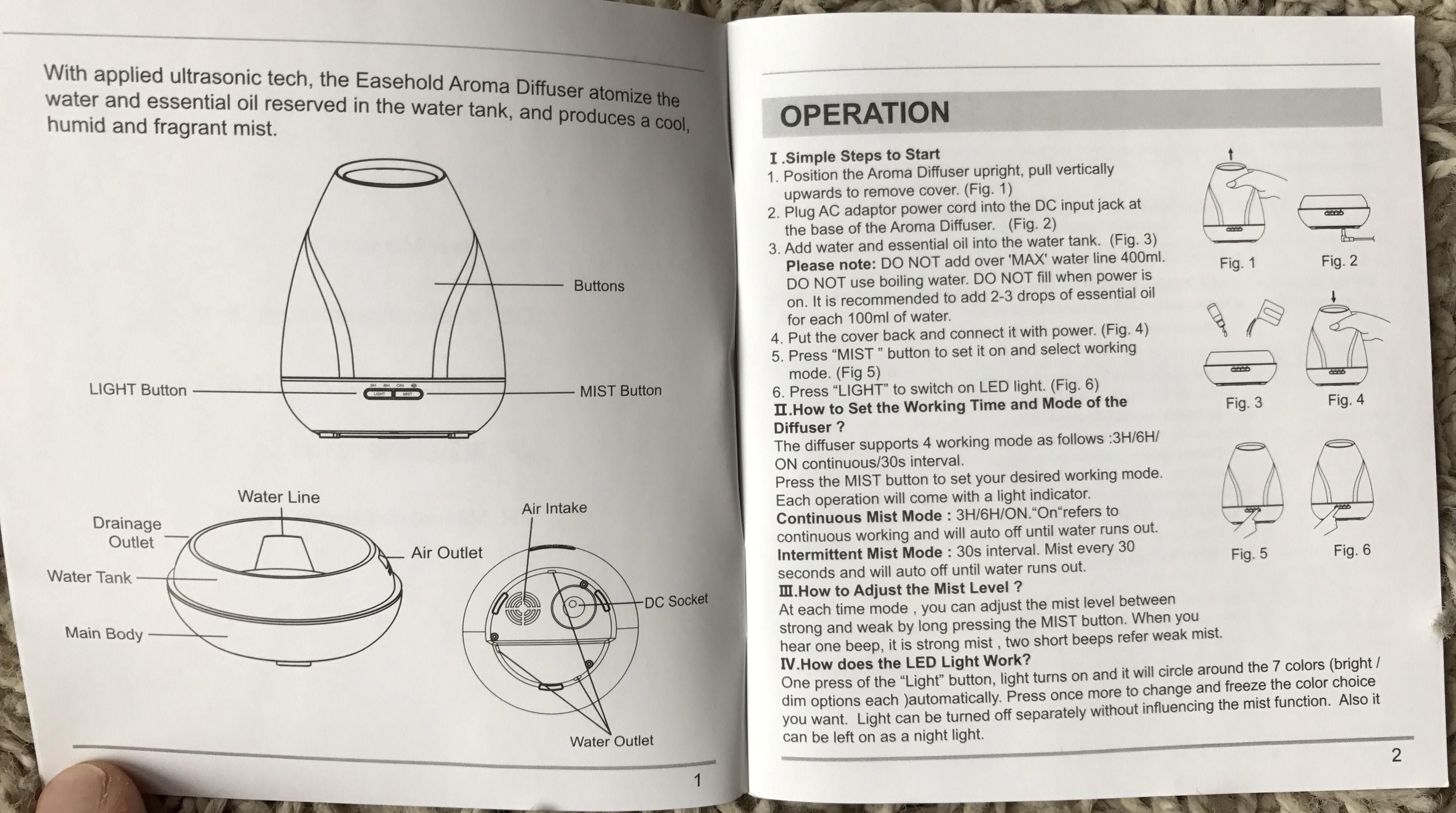 bluzen oil diffuser instructions
