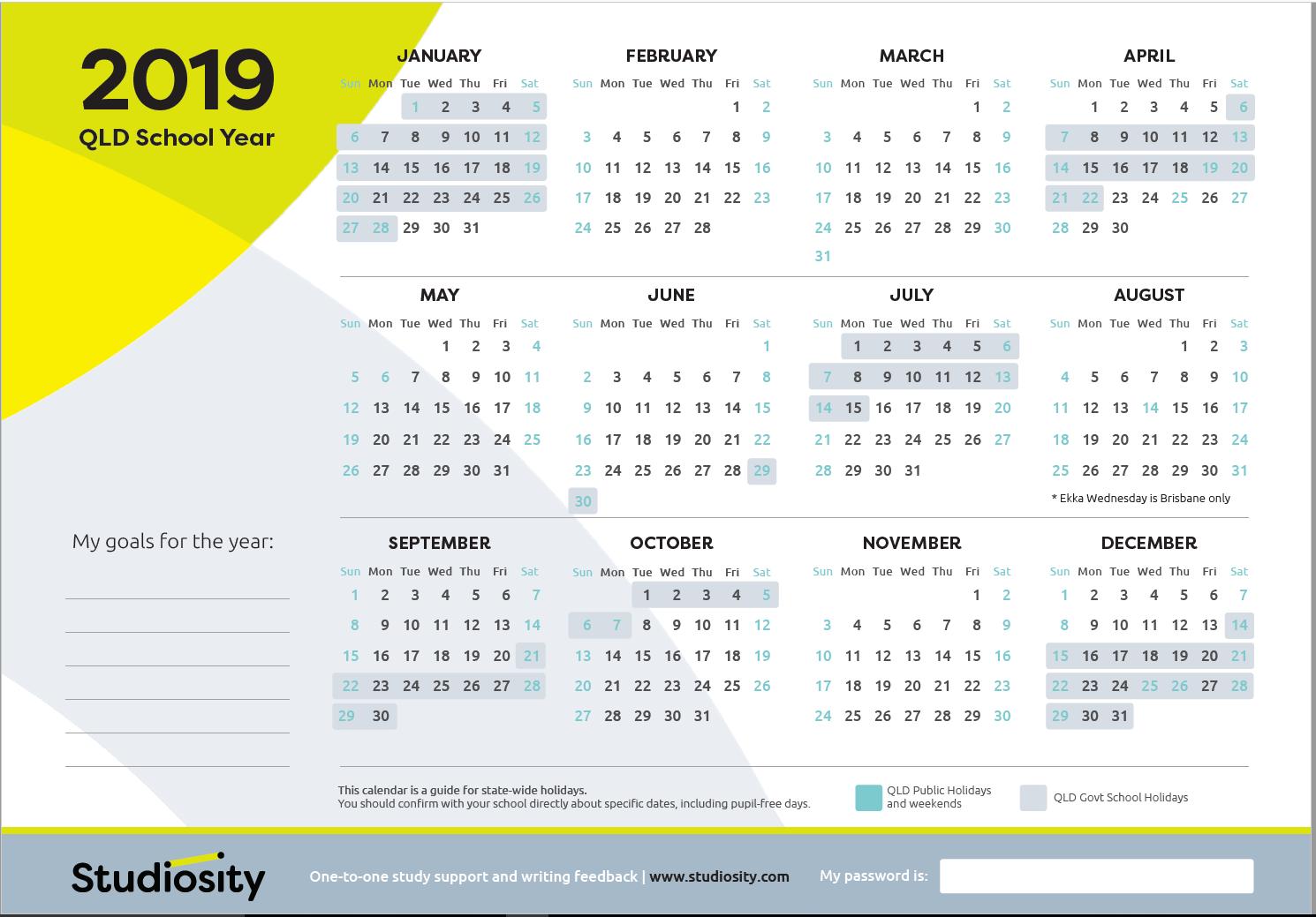 2019 school calendar qld pdf