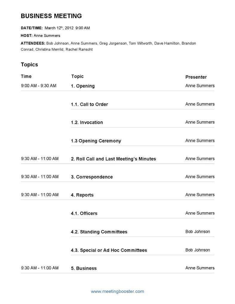 corporate meeting minutes template pdf