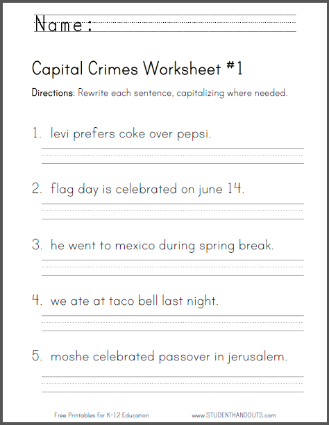 capitalization and punctuation worksheets pdf
