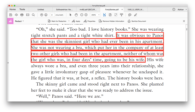 adobe pdf remove black redaction