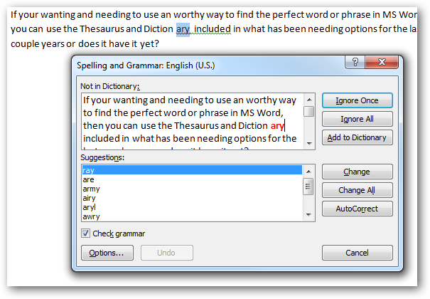 change spelling dictionary in word 2013