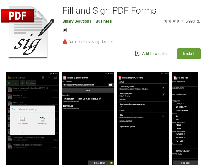 android app to fill in pdf forms