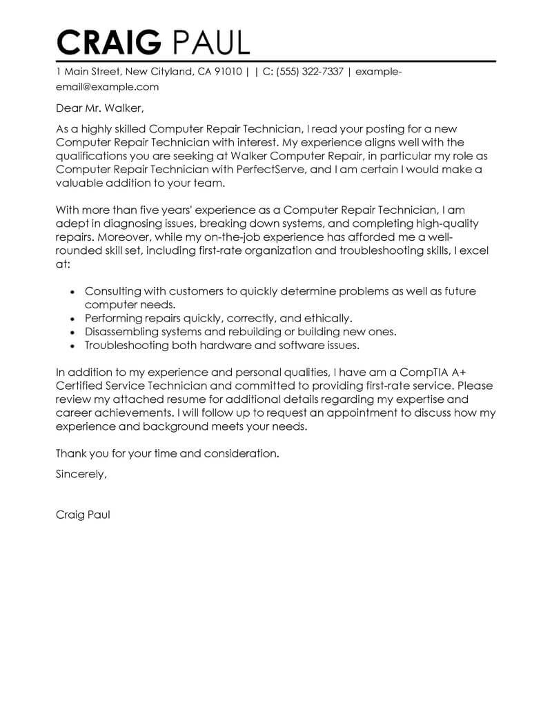 application support technician cover letter