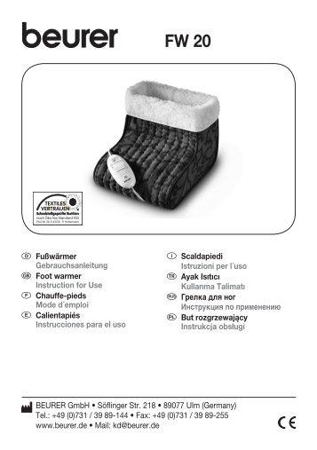 beurer facial sauna instructions
