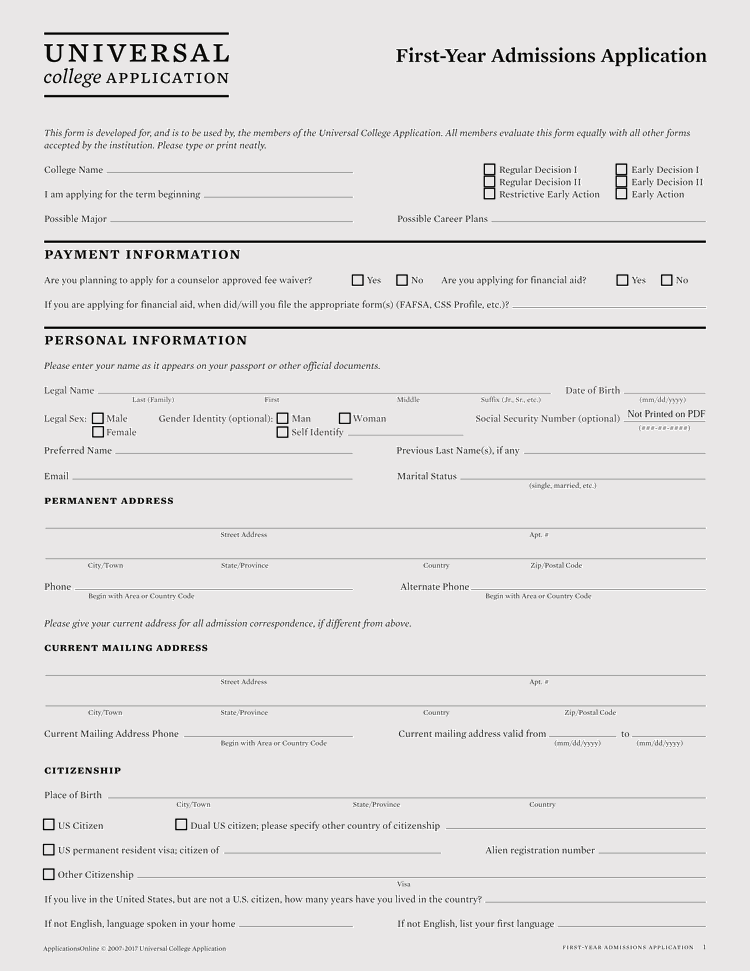 admission for application