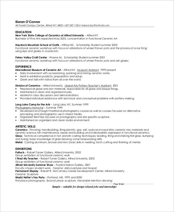 artist profile sample pdf