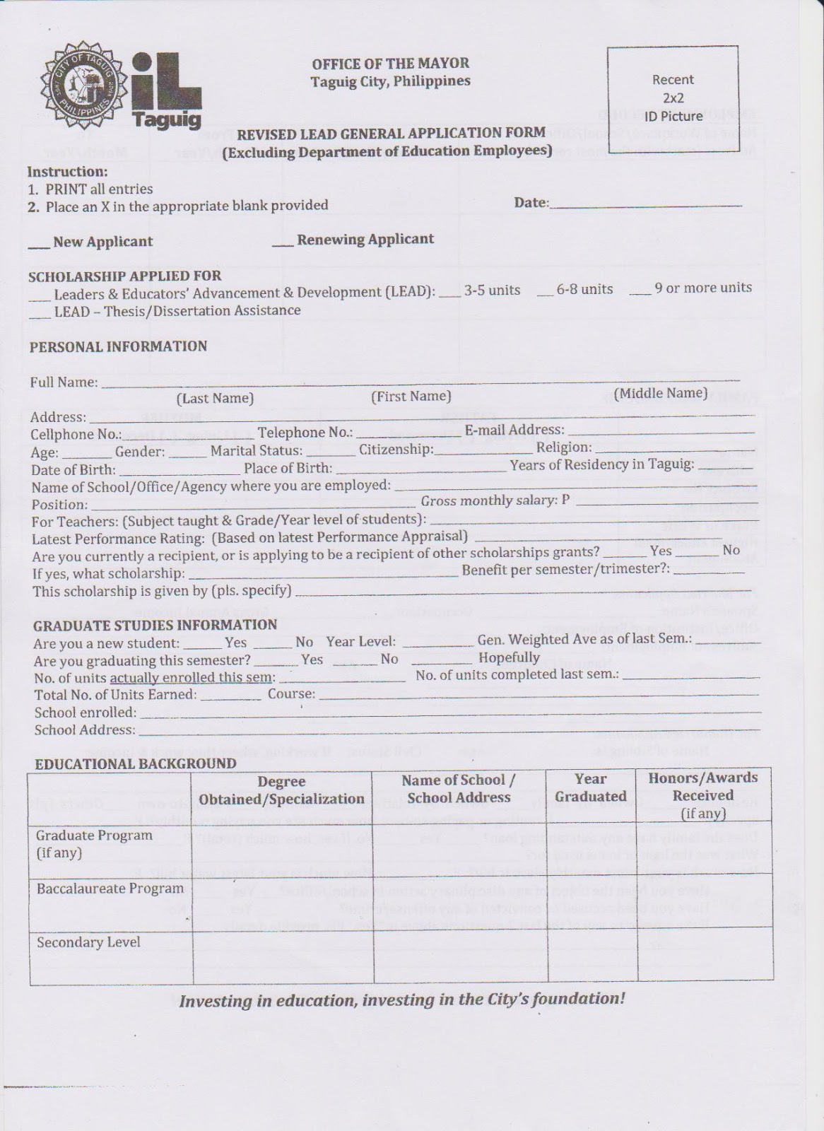 bp application form