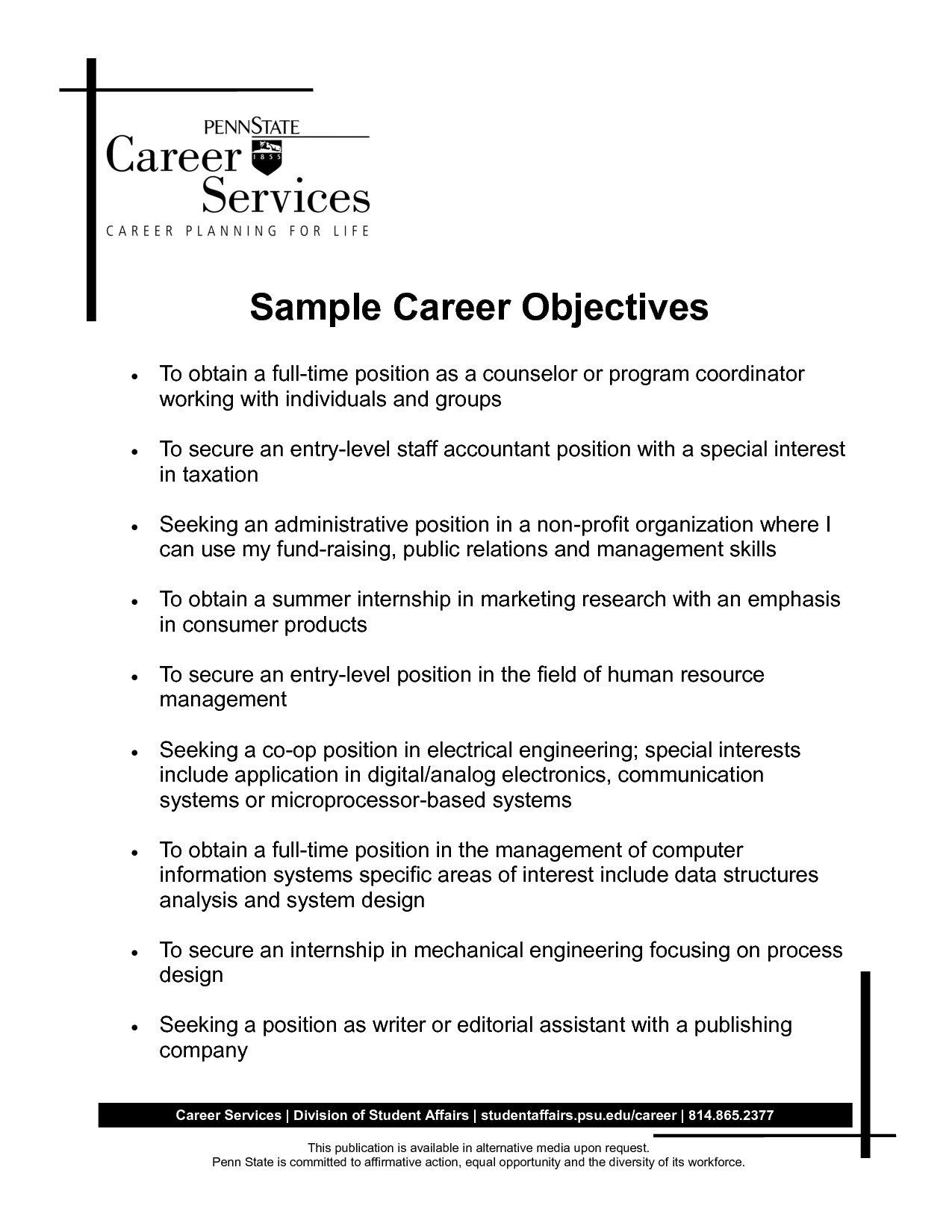 career objective sample for accountants