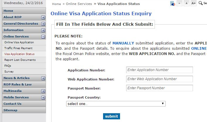 check status of a visa application