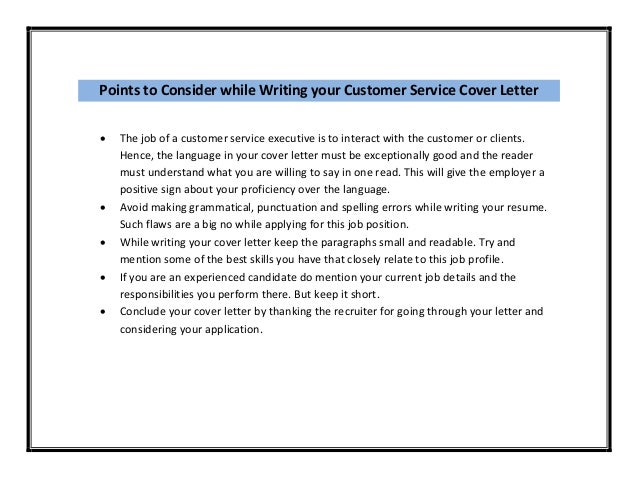 cover letter sample for customer service executive