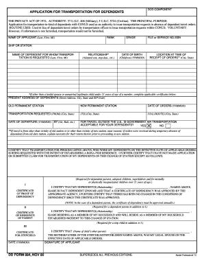 dd form 884 application for transportation for dependents