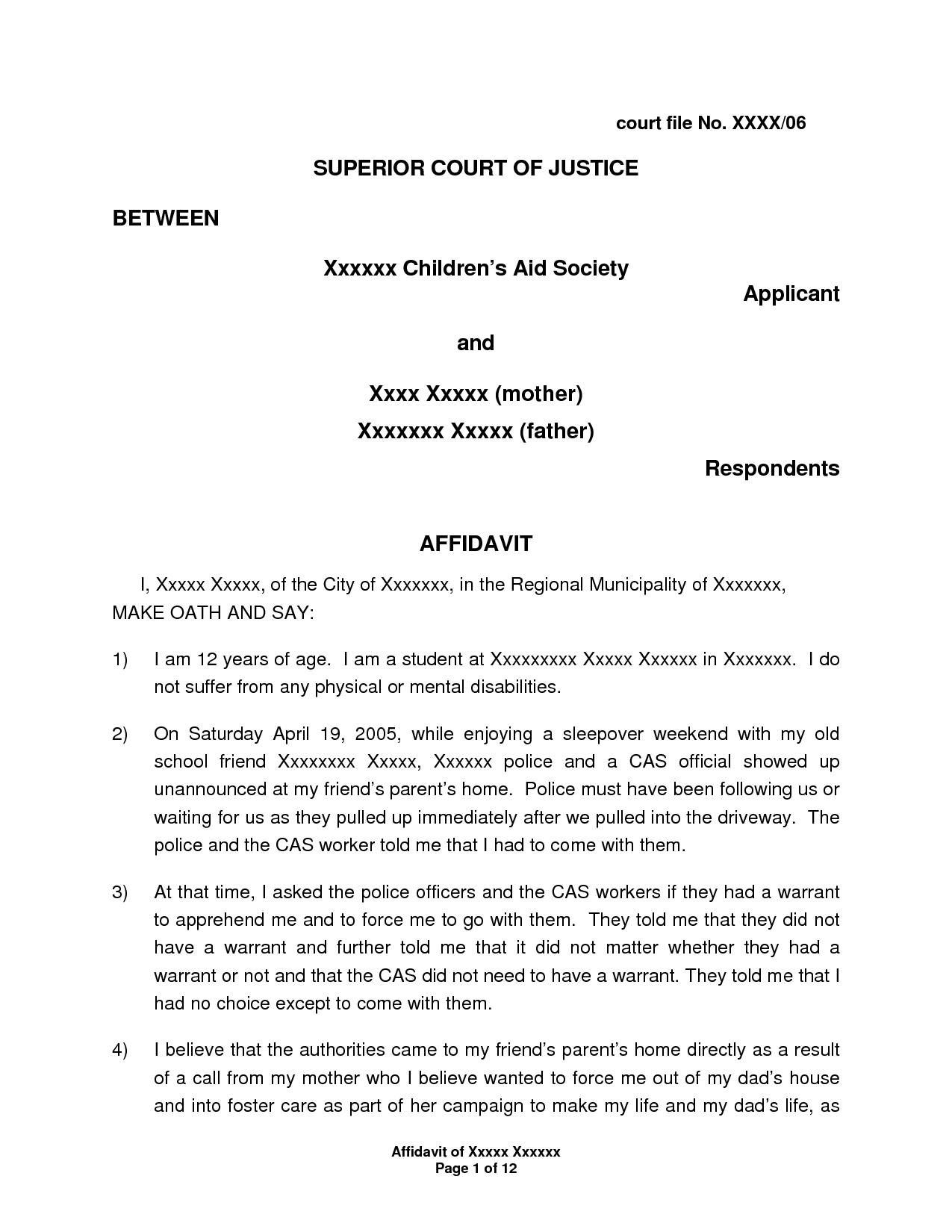 affidavit of support sample letter marriage