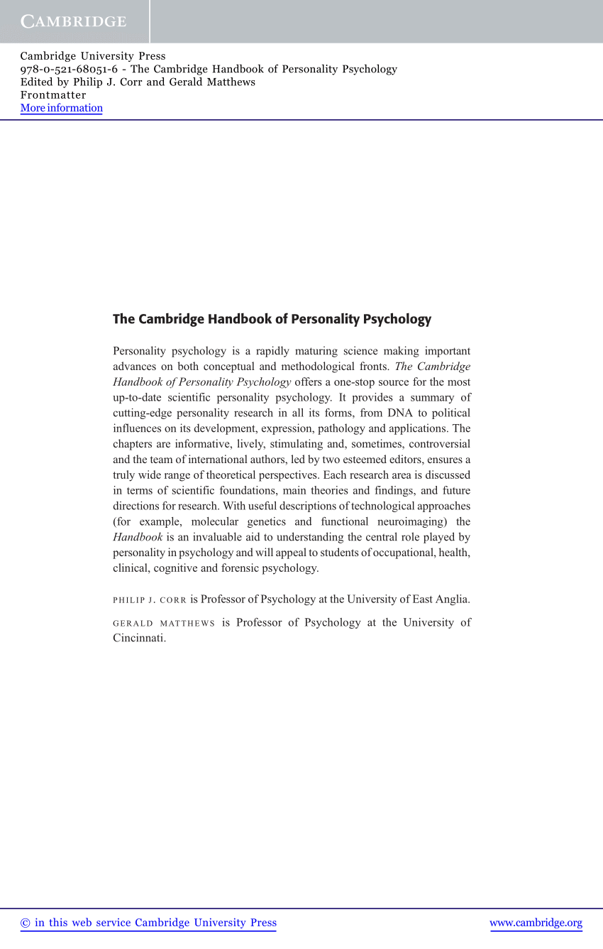 definitions of personality by psychologists pdf